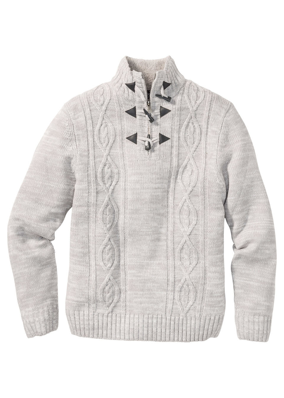 Пуловер Regular Fit c узором «косичка»