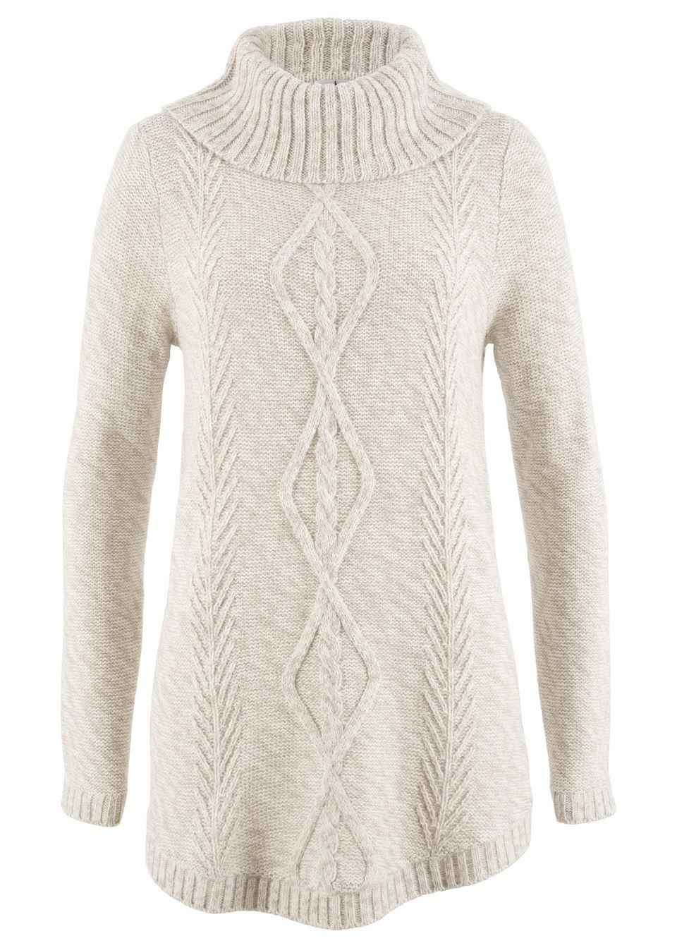 Пуловер-пончо с длинным рукавом