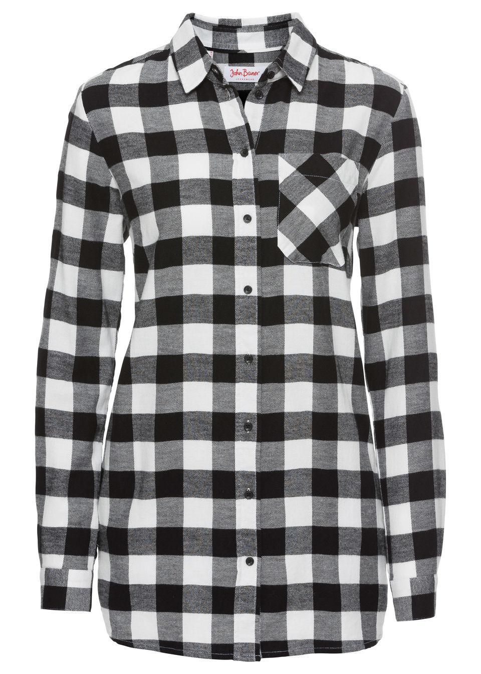 Длинная фланелевая блузка