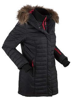 Długa kurtka outdoorowa pikowana czarny