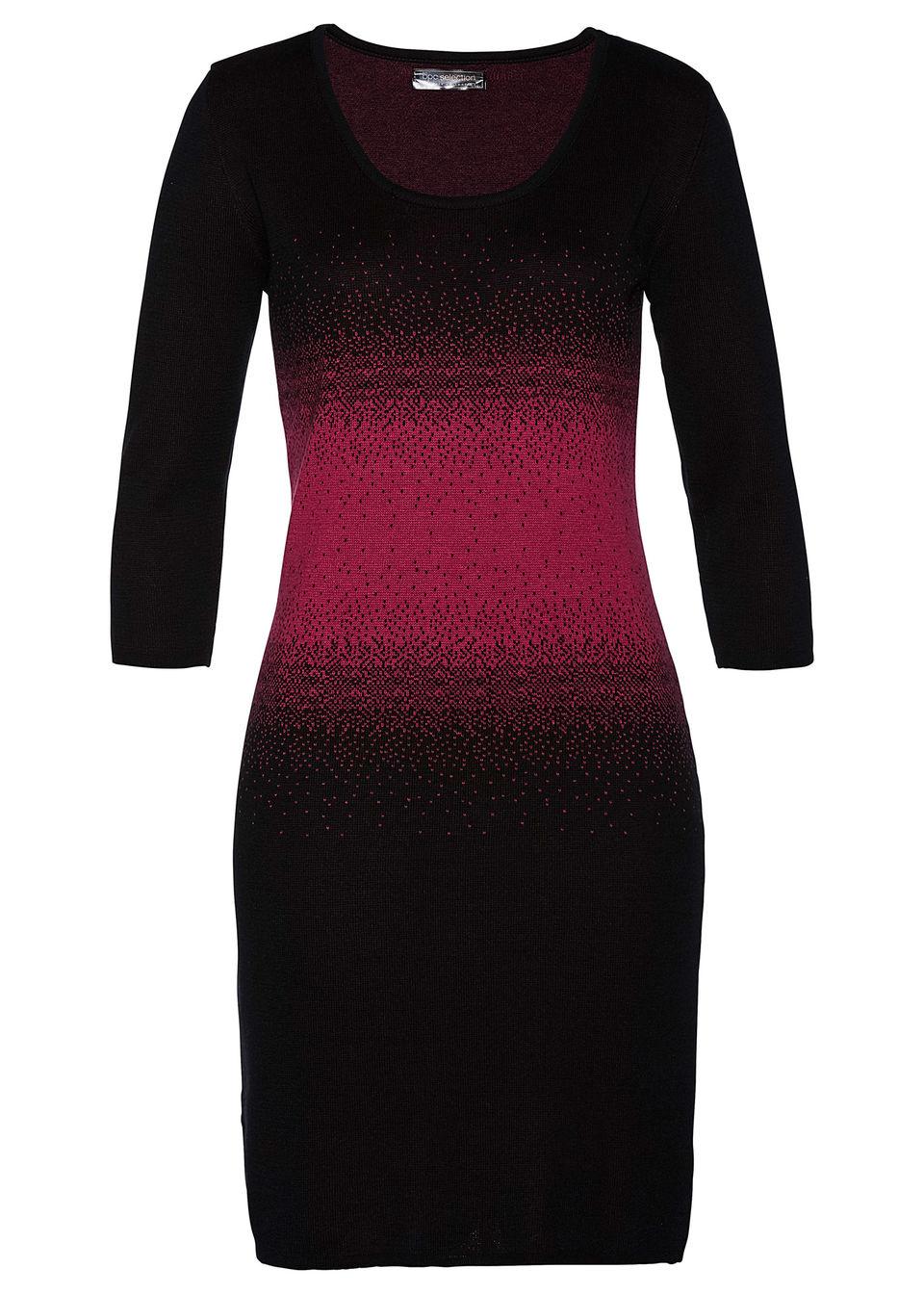 Sukienka dzianinowa bonprix czarno-jeżynowy