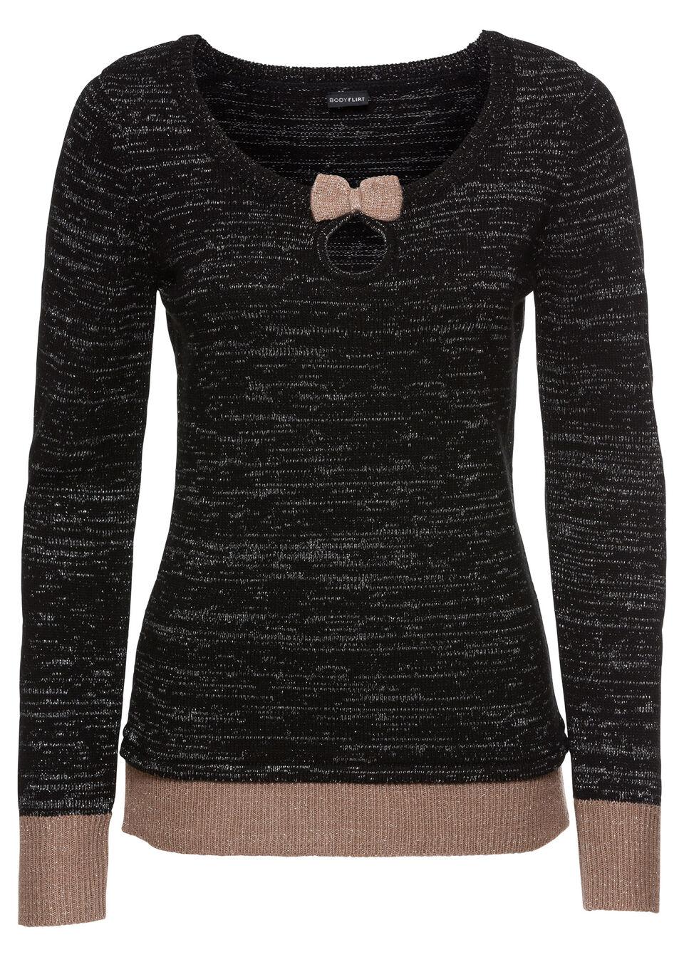 Купить Вязаный пуловер, bonprix, черный/серо-коричневый/серебристый