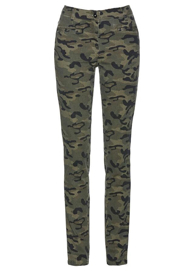 133e1c9a99 Spodnie ze stretchem z nadrukiem • oliwkowy z nadrukiem • bonprix sklep