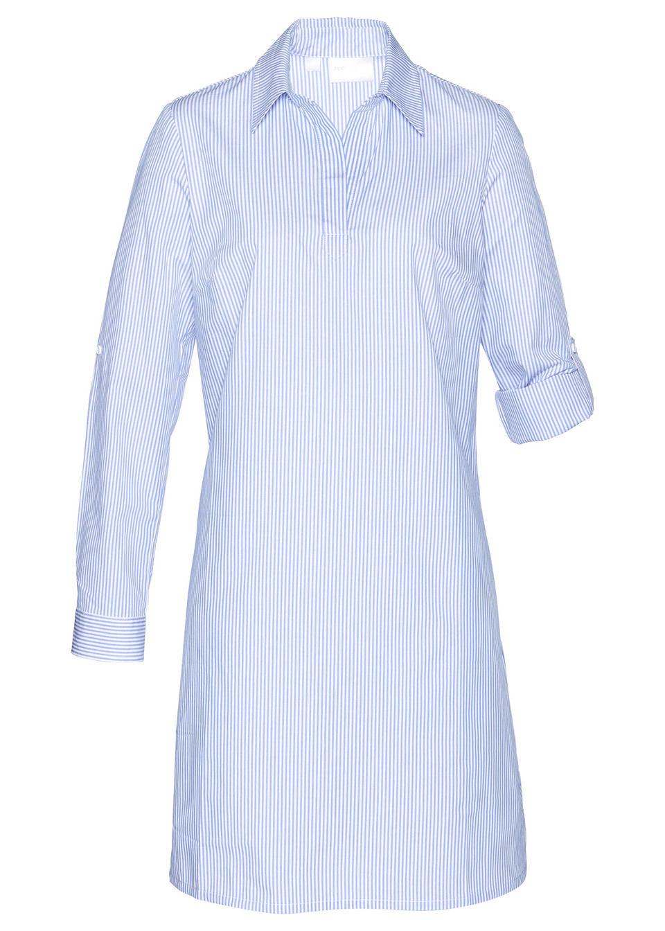 Платье рубашечного покроя, bonprix, белый/синий в полоску  - купить со скидкой
