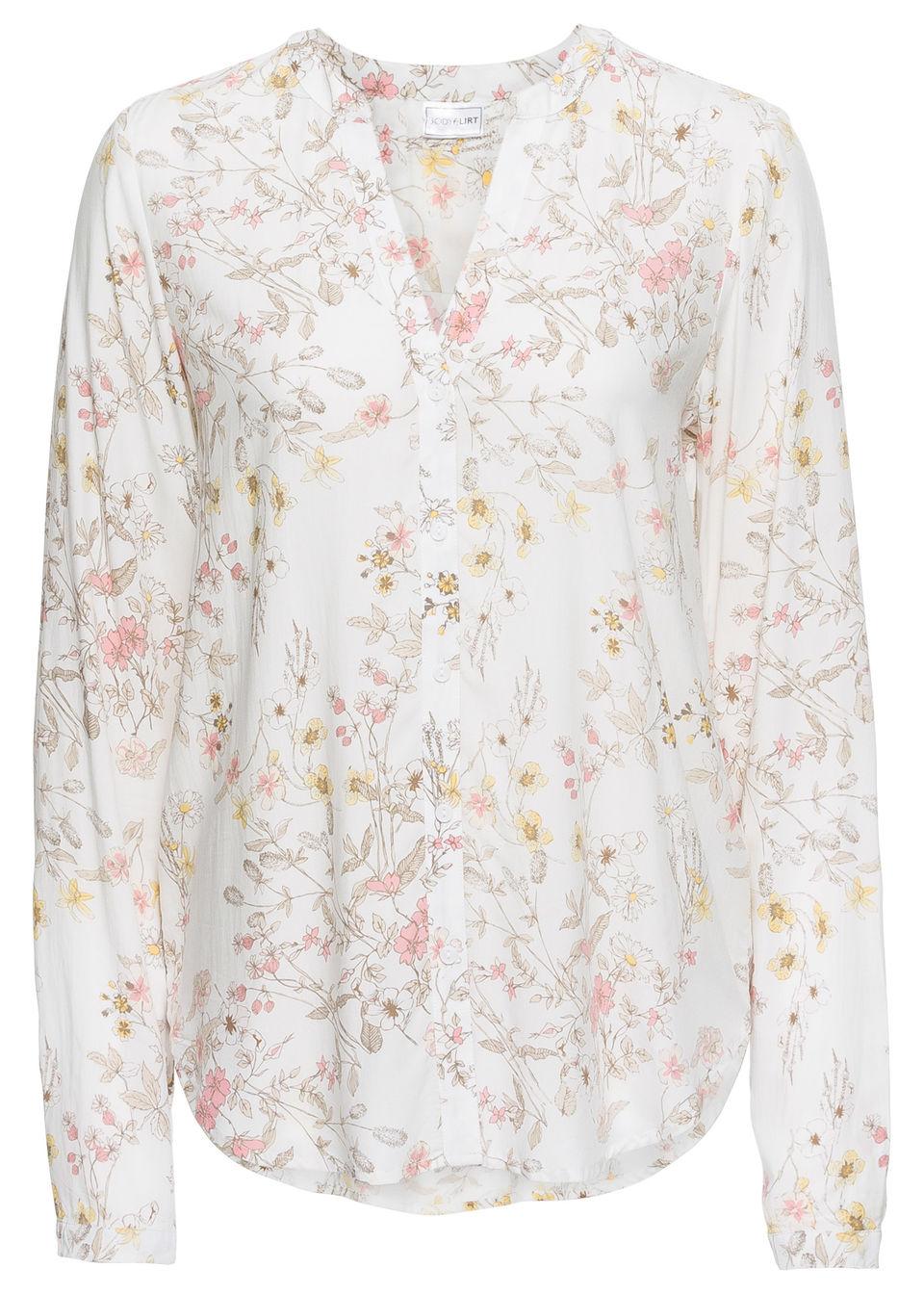Купить Блузка с принтом по всей поверхности, bonprix, цвет белой шерсти в цветочек
