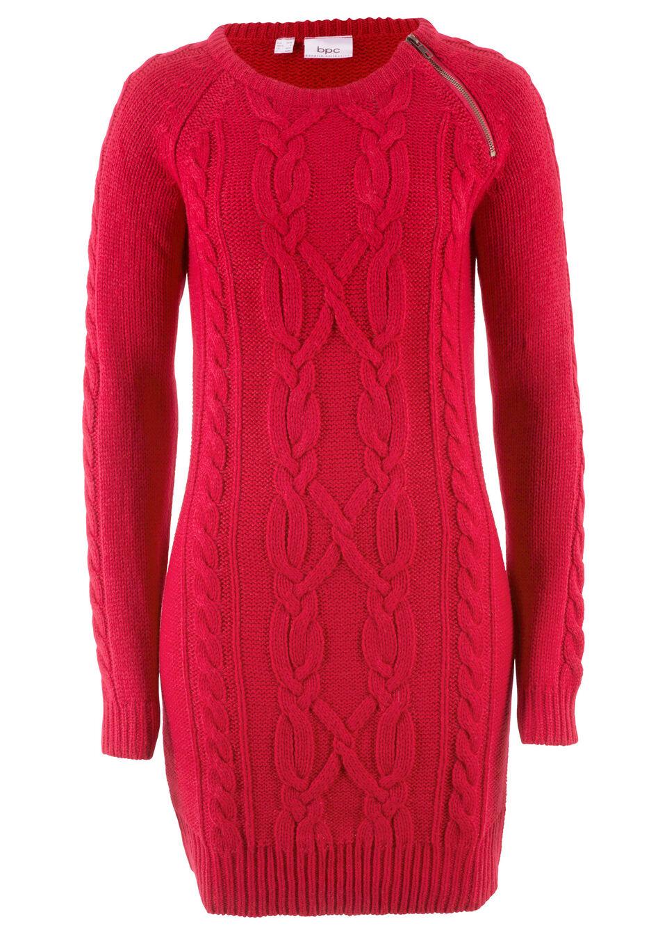 Sukienka dzianinowa z zamkiem bonprix czerwony