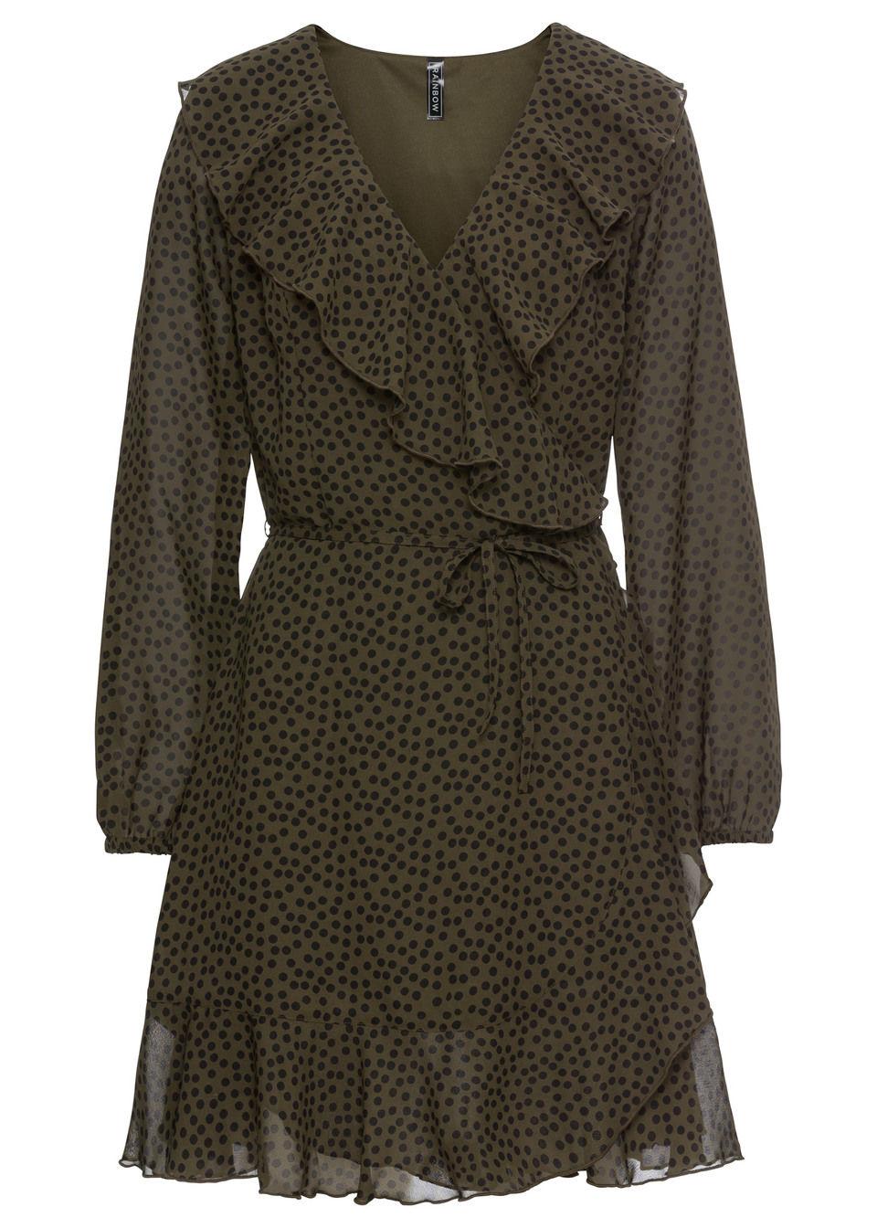 Купить Платье с эффектом запаха и воланами, bonprix, темно-оливковый-черный в горошек