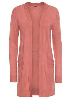 Długi sweter bez zapięcia dymny brzoskwiniowy