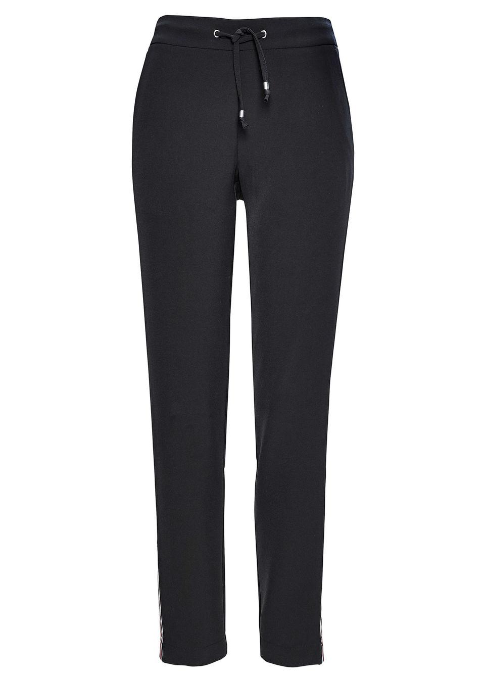 Spodnie bez zamka w talii, z ozdobnymi paskami bonprix czarny