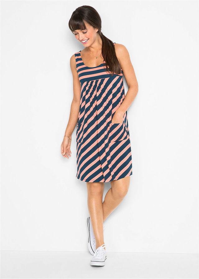 108e8d6235 Sukienka ze stretchem w paski • łososiowy jasnoróżowy - ciemnoniebieski w  paski • bonprix sklep