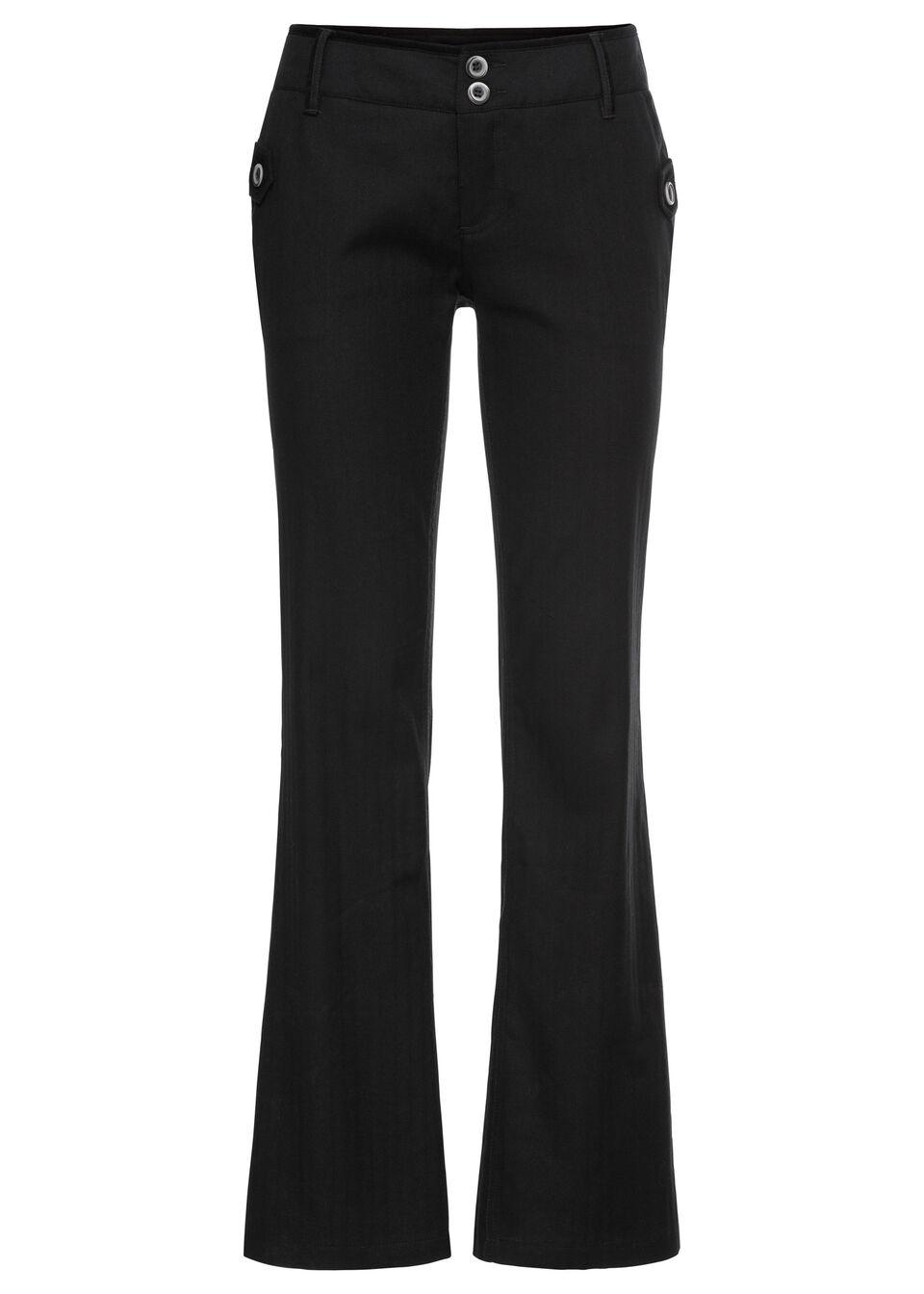 Spodnie biznesowe BOOTCUT w tenisowe prążki bonprix czarny w paski