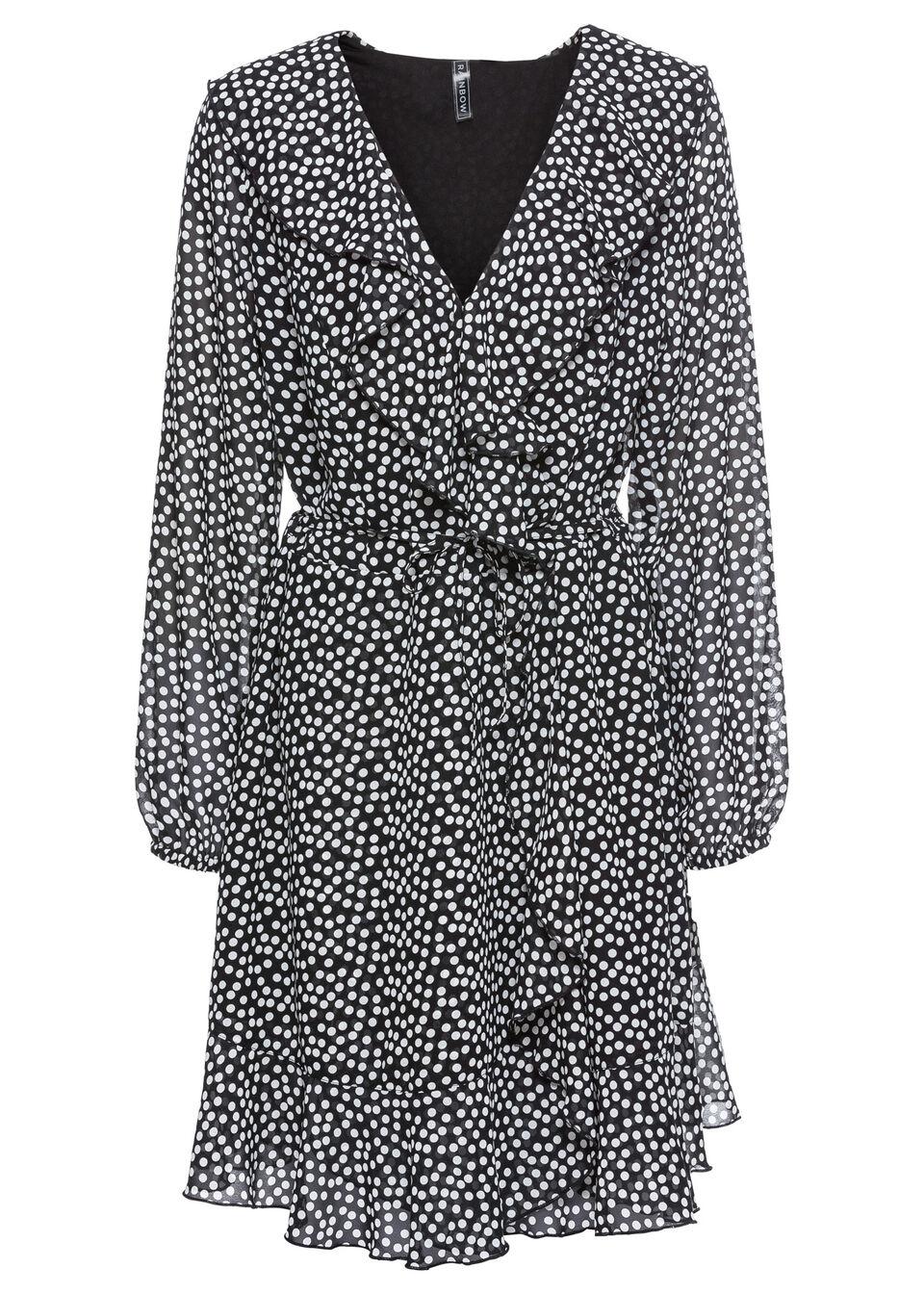 Купить Платье с эффектом запаха и воланами, bonprix, черный/цвет белой шерсти в горошек