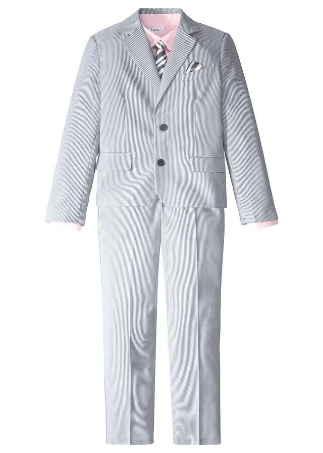 172bbbef0ea67 Garnitur + koszula + krawat (4 części) dymny szary - biały w paski + ...