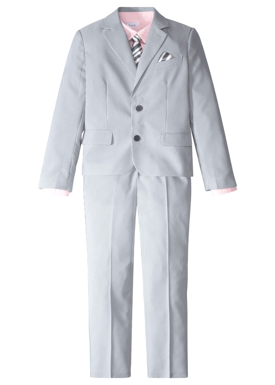 Garnitur chłopięcy 4 częściowy: marynarka + spodnie+  koszula + krawat bonprix dymny szary - biały w paski + jasnoróżowy