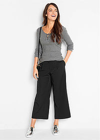 Pantaloni stretch 7/8, loose negru bpc bonprix collection 3