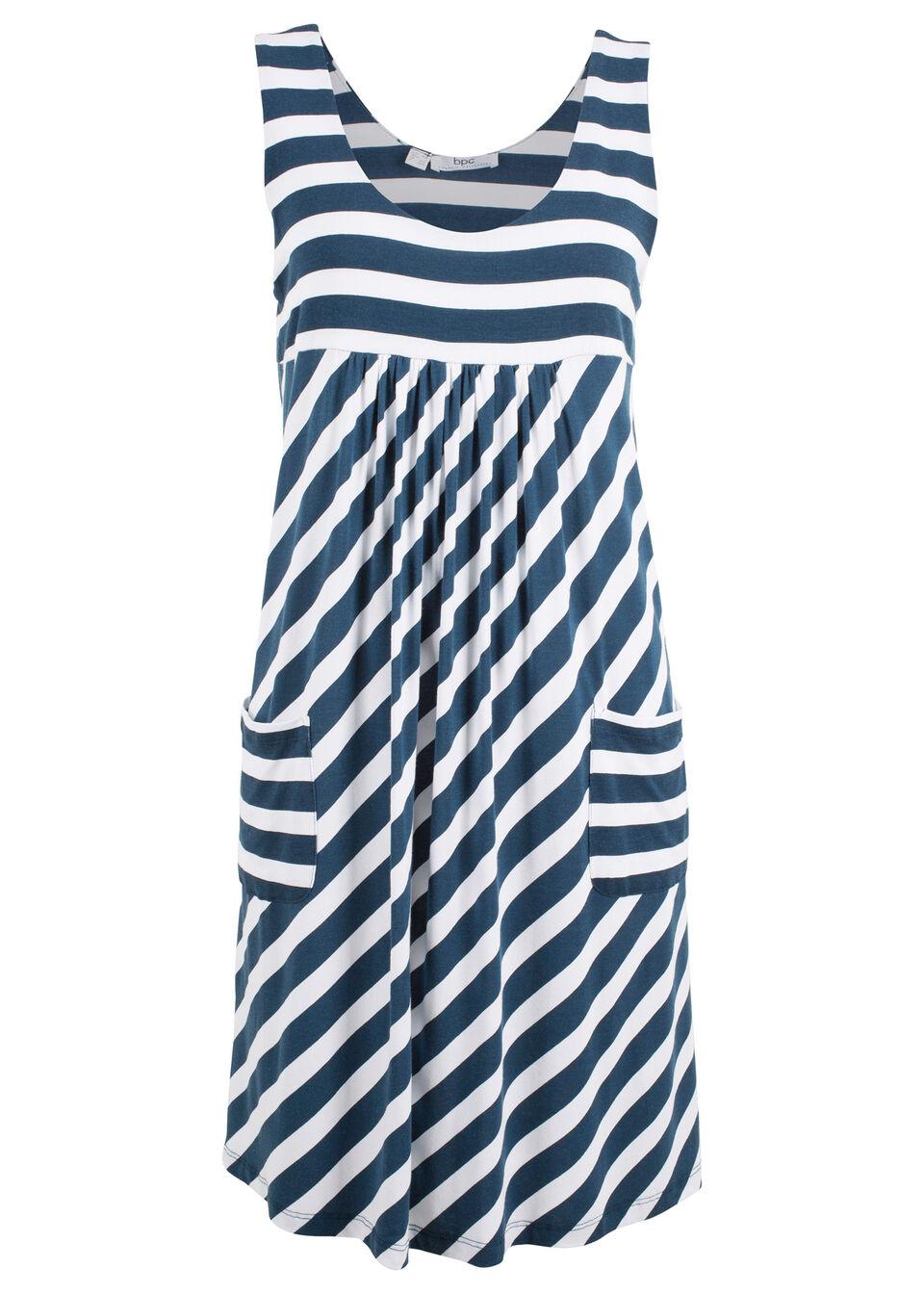 fab2ce49db Sukienka ze stretchem w paski łososiowy jasnoróżowy - ciemnoniebieski w  paski • 74.99 zł • bonprix