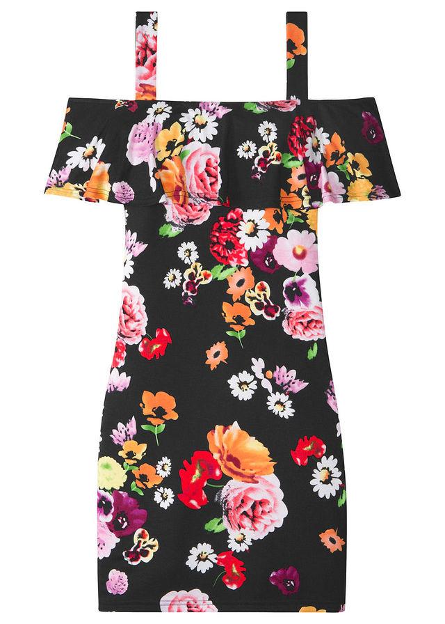 29558ccd87 Sukienka z falbaną czarny w kwiaty • 69.99 zł • bonprix