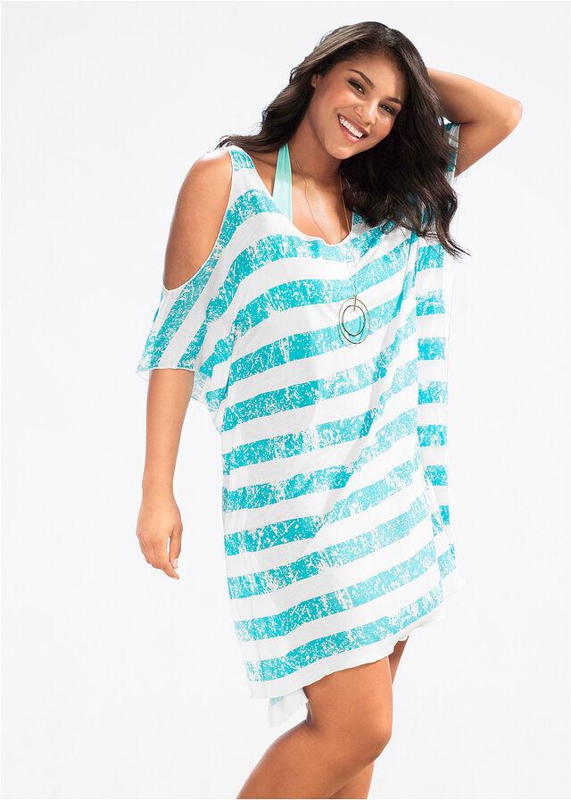 Plážové tričko biela tyrkysová pásikovaná • 14.99 € • bonprix 49d4ec16d9b