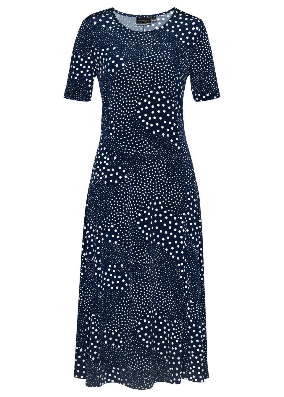 Sukienka midi bonprix ciemnoniebiesko-biały z nadrukiem