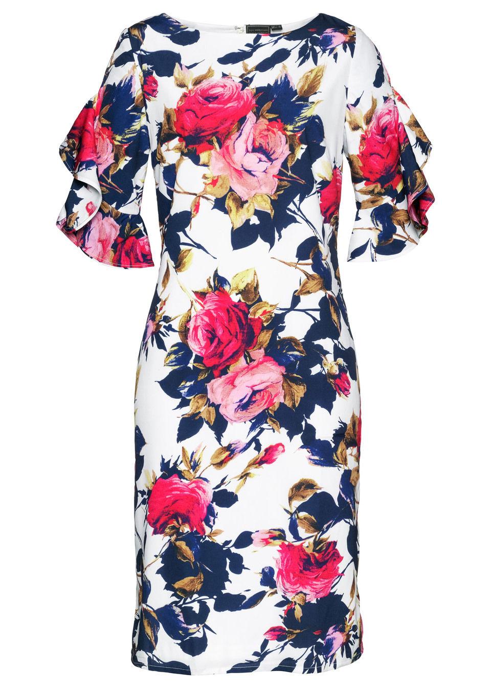 sukienki, odzież - kolekcja wiosenna sukienka bonprix ecru-kolorowy - bonprix