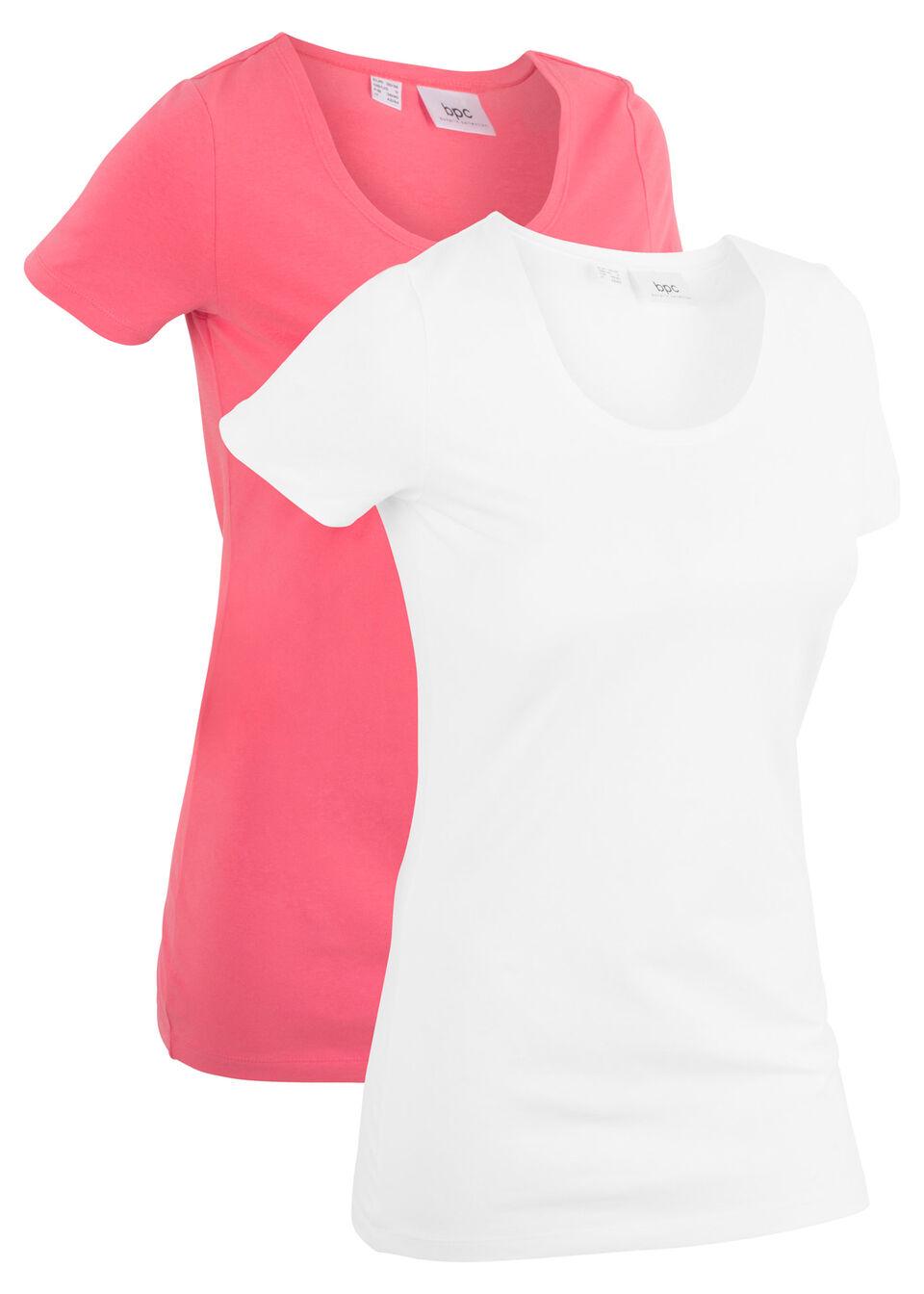 Купить Удлиненная футболка (2 шт.), bonprix, нежный ярко-розовый/белый