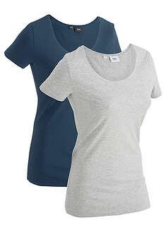 Długi shirt sportowy (2 szt.), krótki rękaw ciemnoniebieski + jasnoszary melanż
