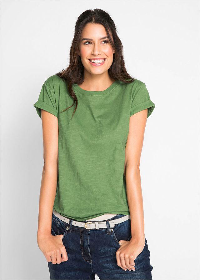 Shirt ze stretchem, krótki rękaw jasny miętowy