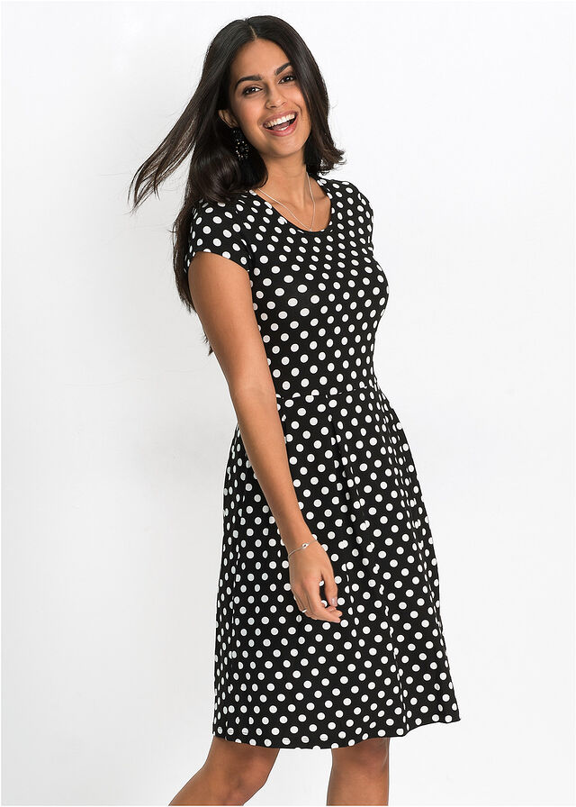 9ee3fce5c Letné šaty z džerseju čierna/biela bodkovaná • 16.99 € • bonprix