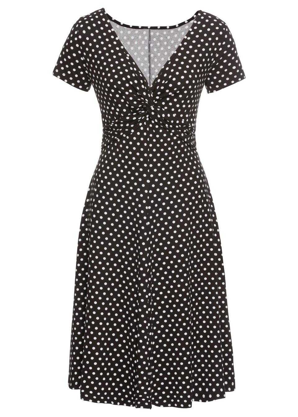 Sukienka z dżerseju bonprix czarno-biały w kropki