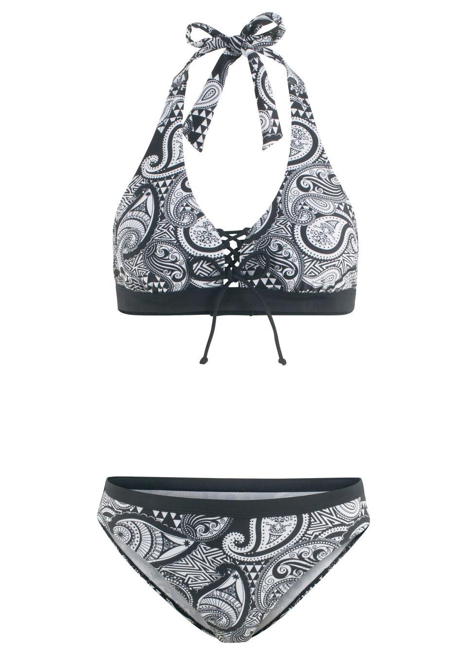 Bikini z ramiączkami wiązanymi na szyi (2 części) bonprix czarno-biały