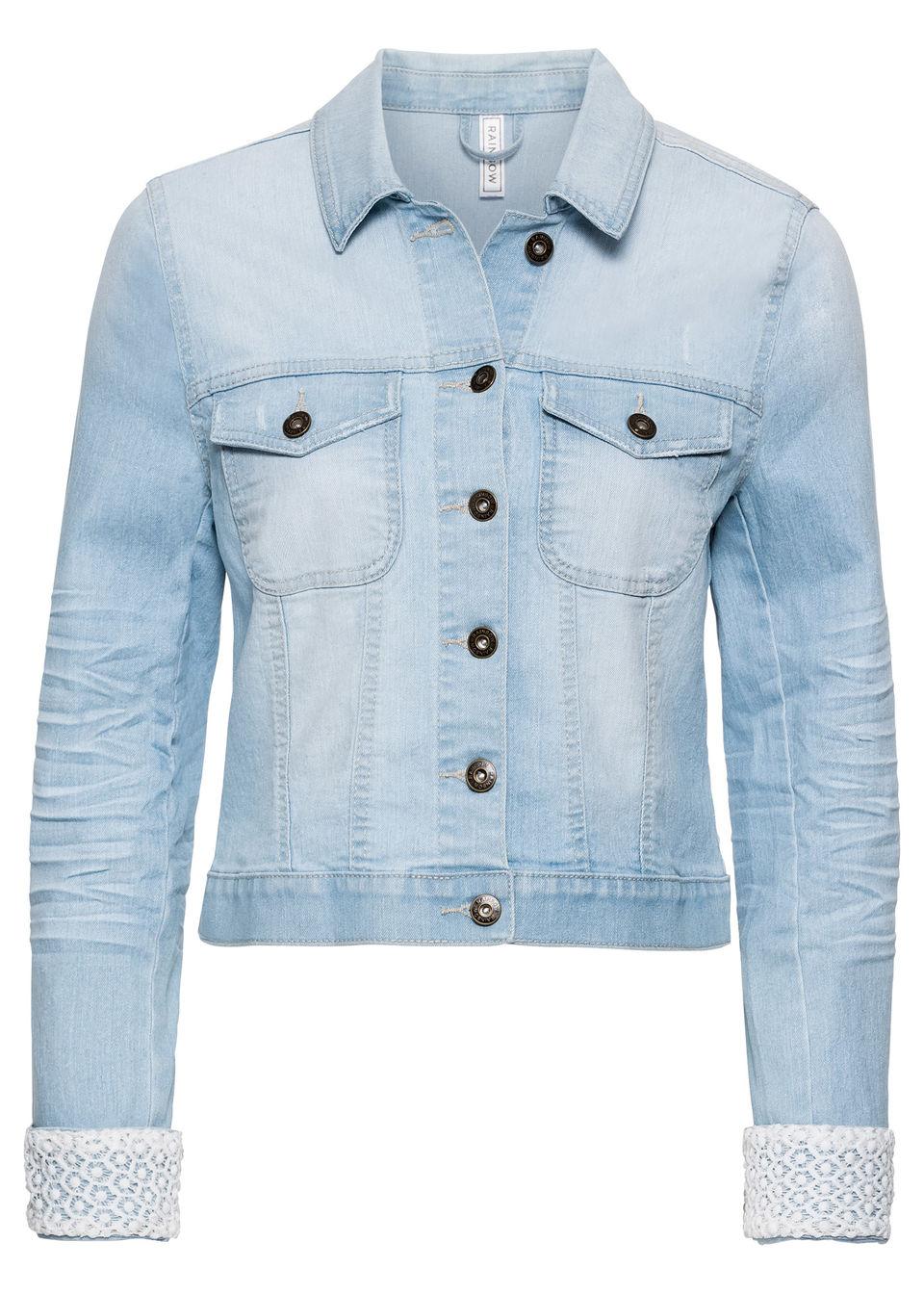 Džínsová bunda s čipkovanou časťou bonprix