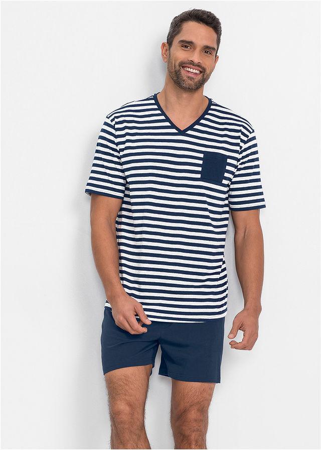 Rövidnadrágos pizsama sötétkék fehér csíkos • 3399.0 Ft • bonprix 28ffd651d9
