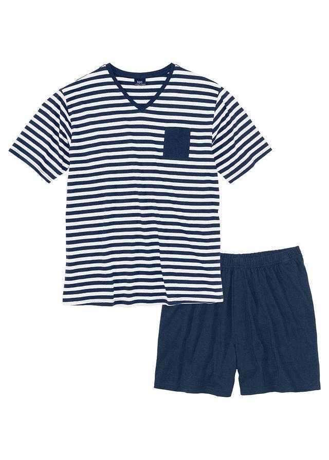20868c515ab4f1 Piżama z krótkimi spodenkami • ciemnoniebiesko-biały w paski • bonprix sklep