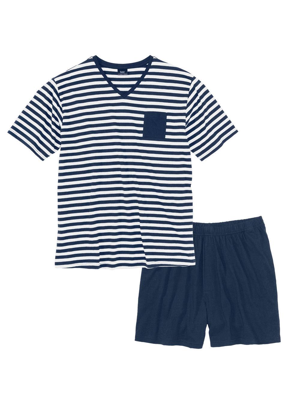 Купить Пижамы, Пижама с шортами, bonprix, темно-синий/белый в полоску