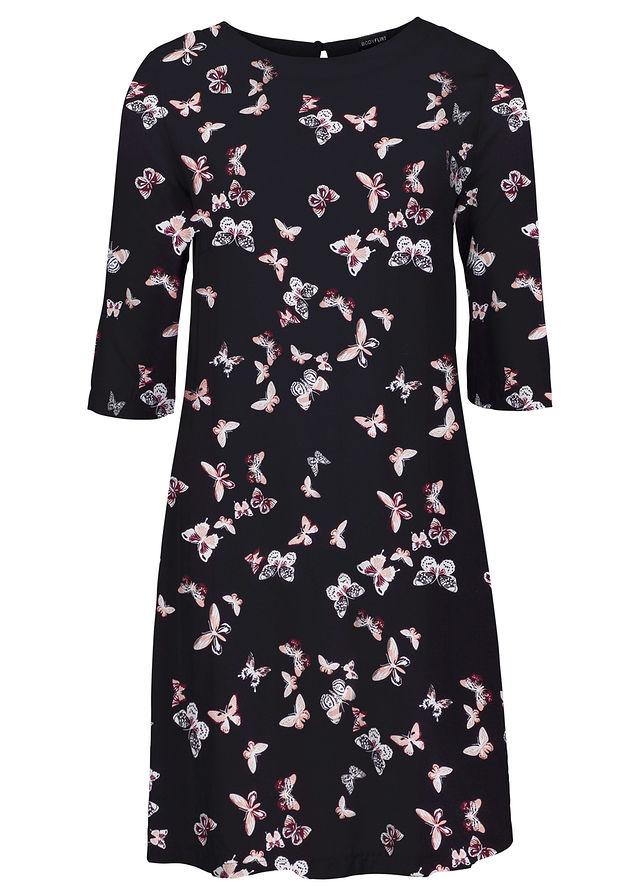 91abe58206 Sukienka z wiskozy czarny z nadrukiem w motyle • 74.99 zł • bonprix