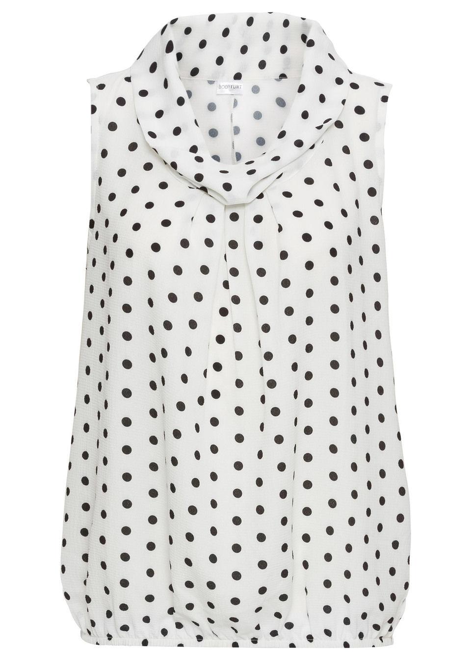 Купить Блузка без рукавов, bonprix, цвет белой шерсти/черный в горошек