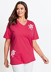 Tricou lung roz hibiscus imprimat bpc selection 12