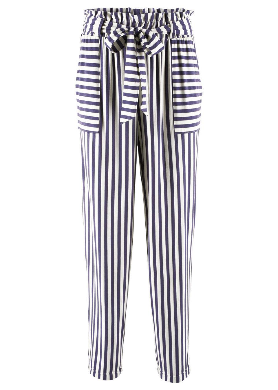 Spodnie shirtowe z kolekcji Maite Kelly bonprix indygo-biały w paski