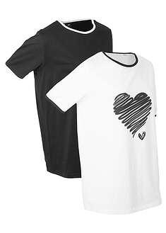 Długi shirt sportowy (2 szt.), krótki rękaw biało-czarny