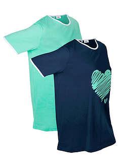 Długi shirt sportowy (2 szt.), krótki rękaw ciemnoniebiesko-niebieski mentolowy