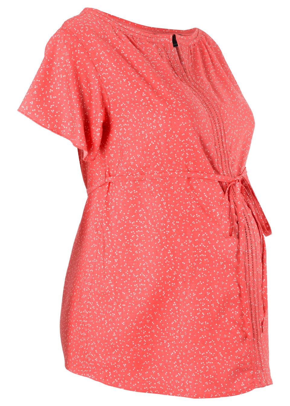 Купить Блузка, bonprix, коралловый/цвет белой шерсти в горошек