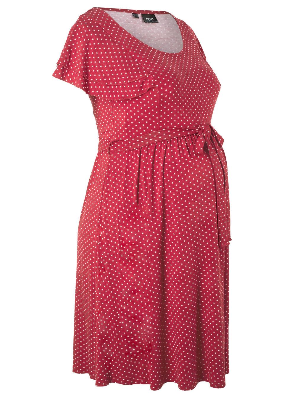 Купить Для будущих мам: трикотажное платье, bonprix, темно-бордовый в горошек