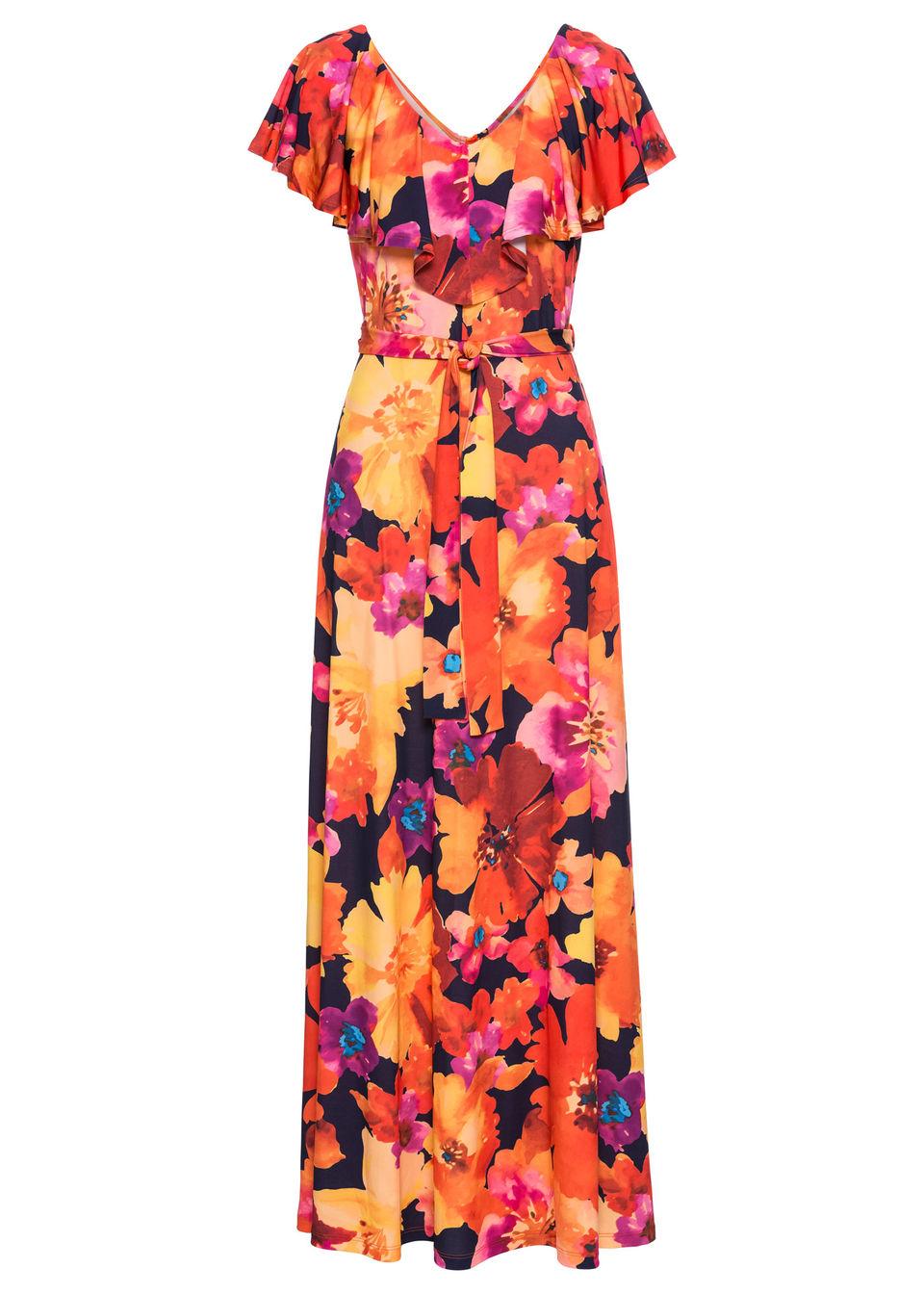Купить Платье с текстильным ремнем и воланами, bonprix, желтый/красный