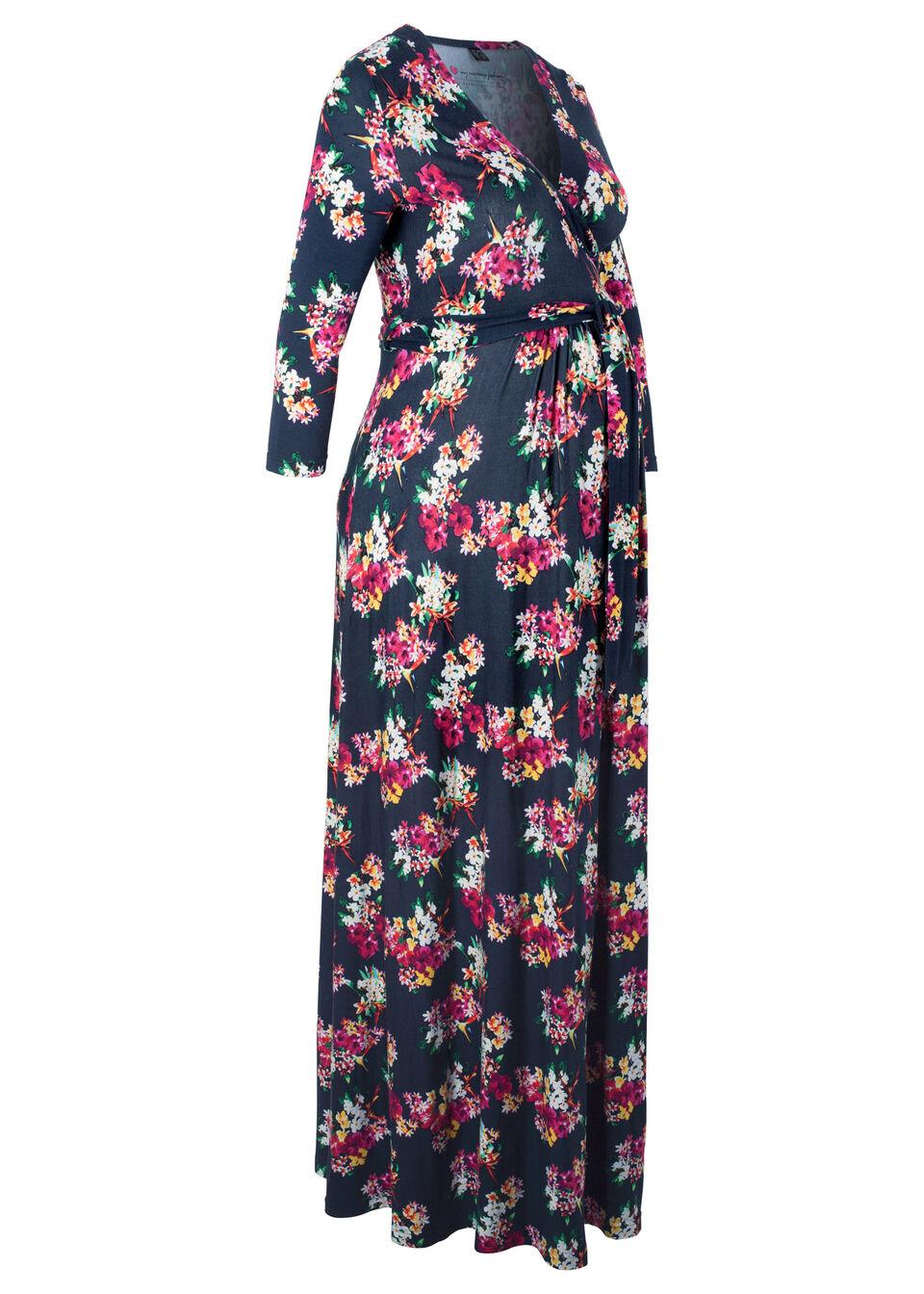 Для будущих и кормящих мам: трикотажное платье, bonprix, синий в цветочек  - купить со скидкой