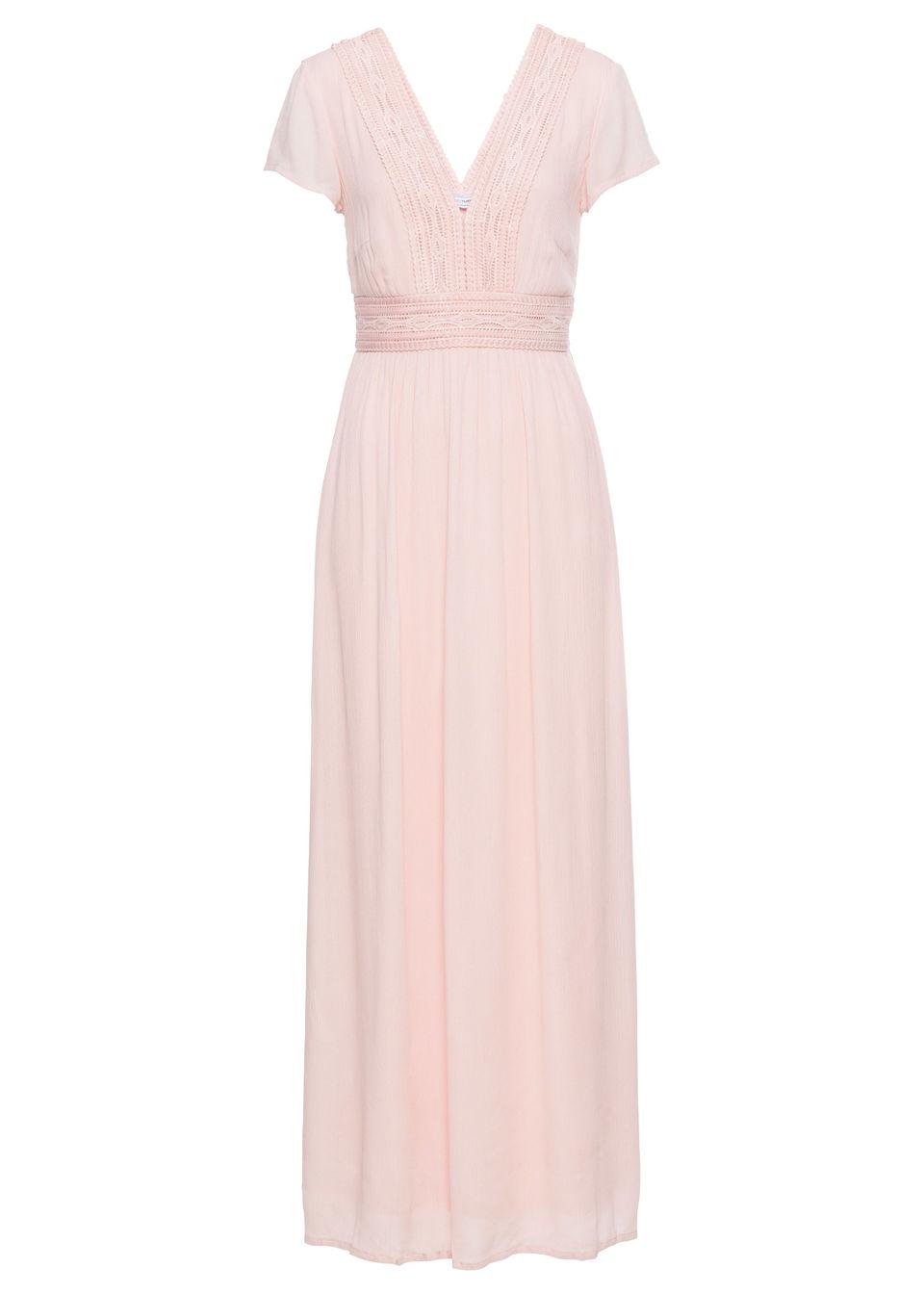 Długa sukienka letnia z koronką bonprix bladoróżowy