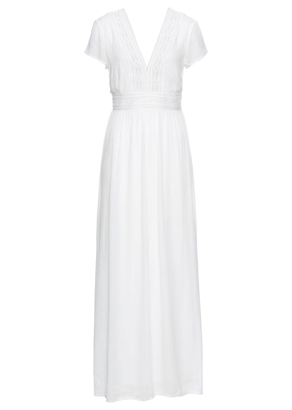 Długa sukienka z koronką bonprix biel wełny