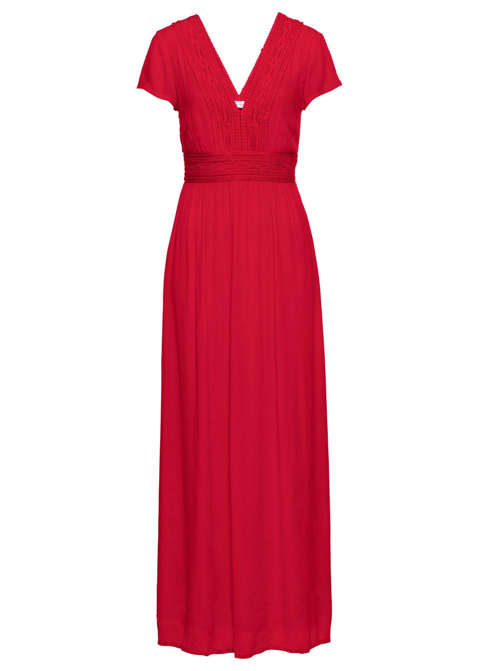 Długa sukienka letnia z koronką bonprix truskawkowy