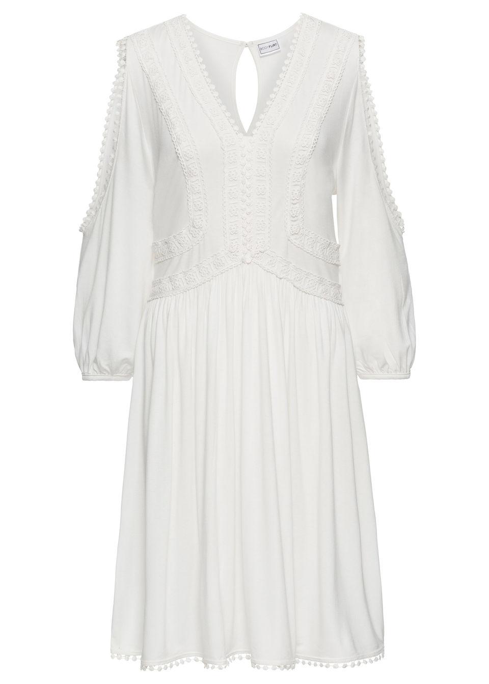 Купить Трикотажное платье с кружевной отделкой, bonprix, цвет белой шерсти