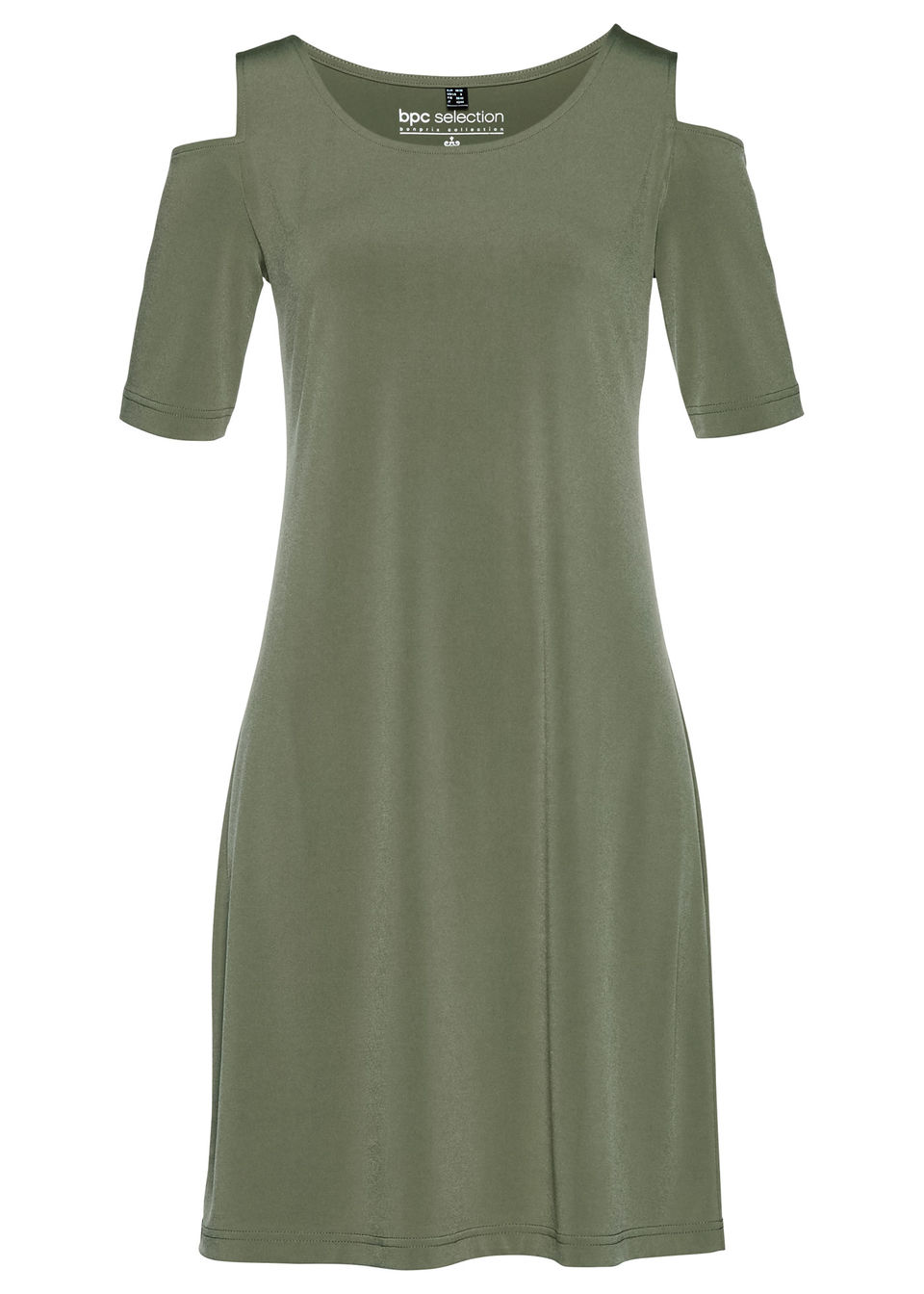 Sukienka cold-shoulder bonprix oliwkowy