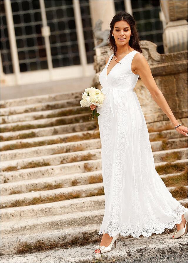 04a1e36b69 Sukienka ciążowa wieczorowa ślubna biel wełny • 319.99 zł • bonprix